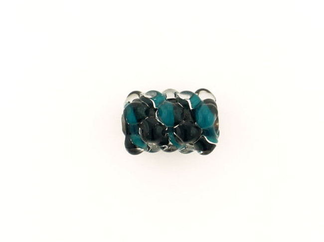 1 Count Apx 18x15mm Teal And Dark Green Spiral Glass Bump Bead (Closeout)