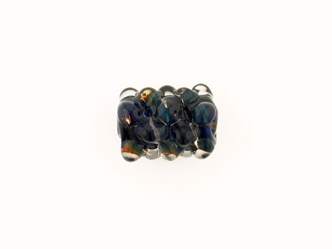 1 Count Apx 19x15mm Navy And Royal Blue Spiral Glass Bump Bead (Closeout)