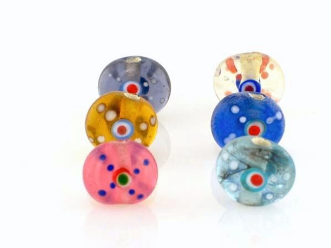 12 Count 9mm Transparent Colors Raised Dot Flat Round Lampwork Beads (Closeout)