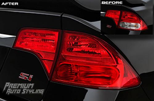 8th Gen Honda Civic Sedan Red Out Vinyl Tail Light Tint Overlays