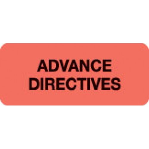 """ADVANCE DIRECTIVES"" Red Fluor. Label 2 1/4"" x 15/16"""
