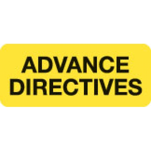 """ADVANCE DIRECTIVES"" Yellow Fluor. Label 2 1/4"" x 15/16"""