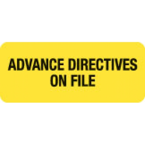 """ADVANCE DIRECTIVES ON FILE"" Yellow Fluor. Label 2 1/4"" x 15/16"""