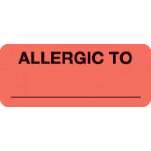 """ALLERGIC TO"" Red Fluor. Label 2 1/4"" x 15/16"""