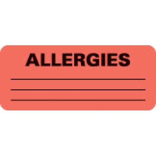 """ALLERGIES"" Red Fluor. Label 2 1/4"" x 15/16"""
