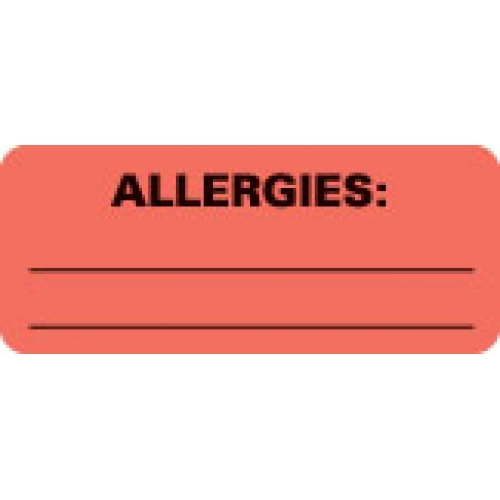 """ALLERGIES:"" Red Fluor. Label 2 1/4"" x 15/16"""