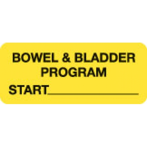 """BOWEL & BLADDER PROGRAM START Yellow Fluor. Label 2 1/4"" x 15/16"""