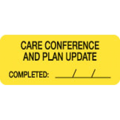 """CARE CONFERENCE & PLAN UPDATE"" Yellow Fluor. Label 2 1/4"" x 15/16"""