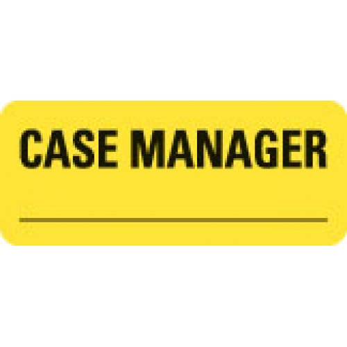 """CASE MANAGER _________"" Yellow Fluor. Label 2 1/4"" x 15/16"""