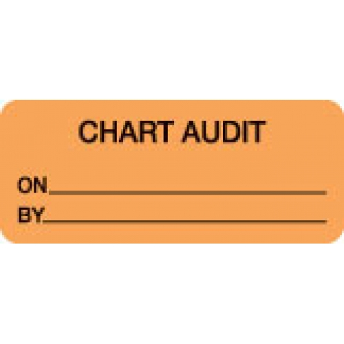 """CHART AUDIT ON__BY__"" Orange Fluor. Label 2 1/4"" x 15/16"""