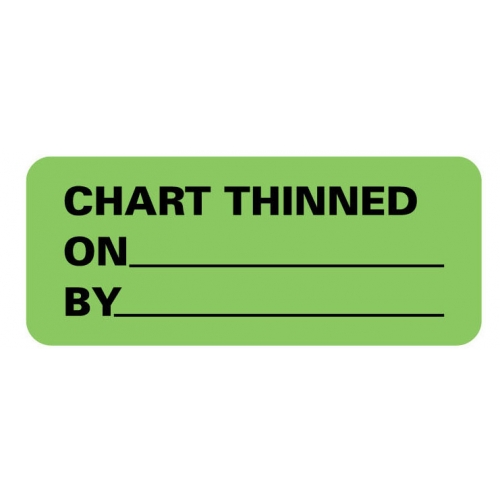"""CHART THINNED ON__BY__"" Green Fluor. Label 2 1/4"" x 15/16"""