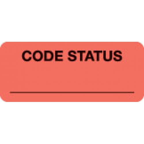 """CODE STATUS ______"" Red Fluor. Label 2 1/4"" x 15/16"""