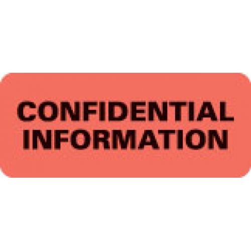 """CONFIDENTIAL INFORMATION"" Red Fluor. Label 2 1/4"" x 15/16"""