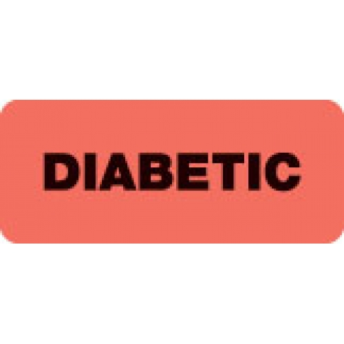 """DIABETIC"" Red Fluor. Label 2 1/4"" x 15/16"""