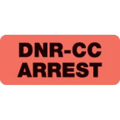 """DNR-CC ARREST"" Red Fluor. Label 2 1/4"" x 15/16"""