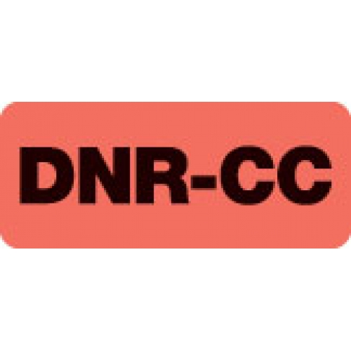 """DNR-CC"" Red Fluor. Label 2 1/4"" x 15/16"""