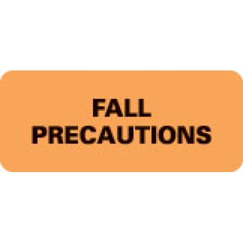"""FALL PRECAUTIONS"" Orange Fluor. Label 2 1/4"" x 15/16"""