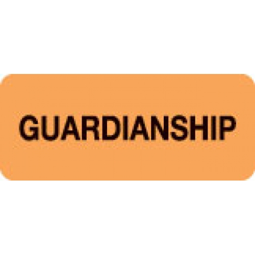 """GUARDIANSHIP"" Orange Fluor. Label 2 1/4"" x 15/16"""