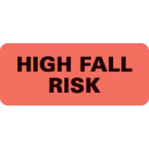 """HIGH FALL RISK"" Red Fluor. Label 2 1/4"" x 15/16"""