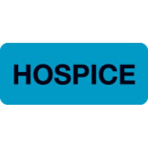 """HOSPICE"" Blue Fluor. Label 2 1/4"" x 15/16"""