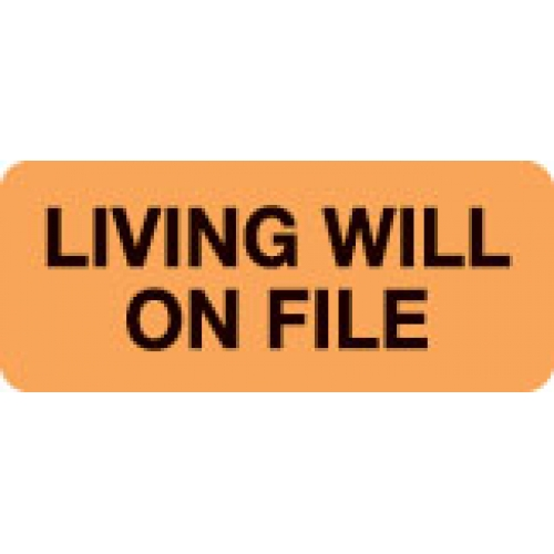 """LIVING WILL ON FILE"" Orange Fluor. Label 2 1/4"" x 15/16"""