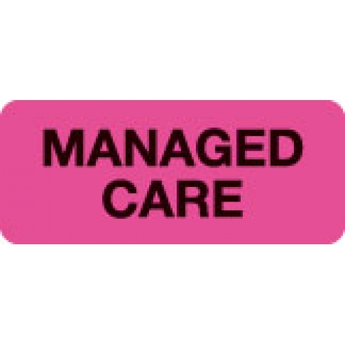 """MANAGED CARE"" Pink Fluor. Label 2 1/4"" x 15/16"""