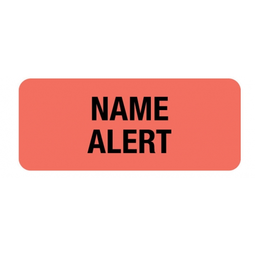 """NAME ALERT"" Red Fluor. Label 2 1/4"" x 15/16"""
