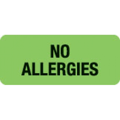 """NO ALLERGIES"" Green Fluor. Label 2 1/4"" x 15/16"""