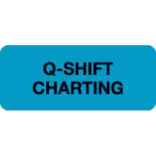 """Q-SHIFT CHARTING"" Blue Fluor. Label 2 1/4"" x 15/16"""