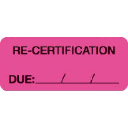 """RE-CERTIFICATION DUE: __/__/__"" Pink Fluor. Label 2 1/4"" x 15/16"""