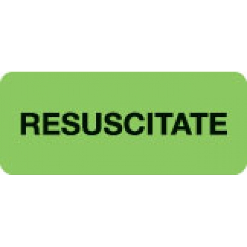 """RESUSCITATE"" Green Fluor. Label 2 1/4"" x 15/16"""