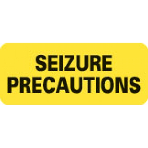 """SEIZURE PRECAUTIONS"" Yellow Fluor. Label 2 1/4"" x 15/16"""