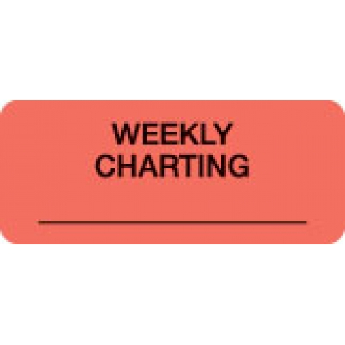 """WEEKLY CHARTING"" Red Fluor. Label 2 1/4"" x 15/16"""