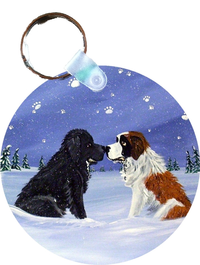 KEY CHAIN · A COLD, WET HELLO · BLACK NEWFOUNDLAND, SAINT BERNARD · AMY BOLIN