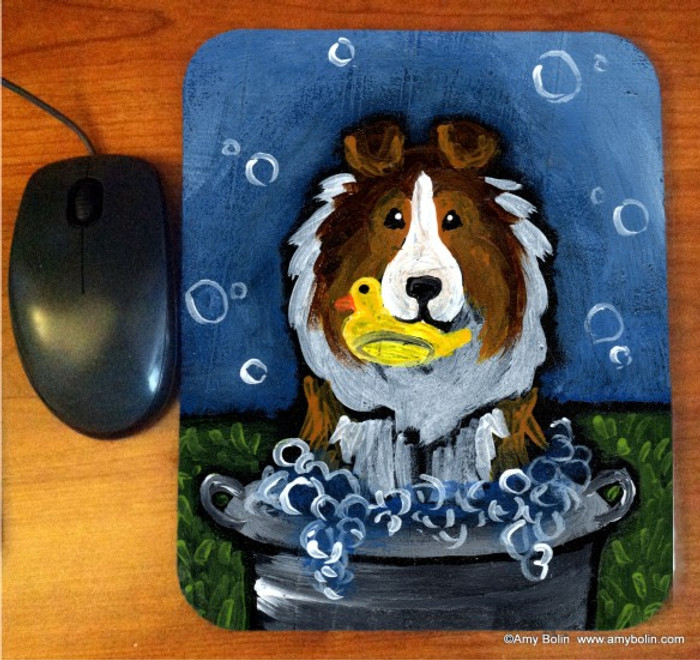 MOUSE PAD · THE WASH TUB · SABLE SHELTIE · AMY BOLIN