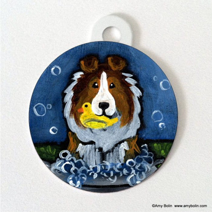 DOUBLE SIDED PET ID TAG · THE WASH TUB · SABLE SHELTIE · AMY BOLIN