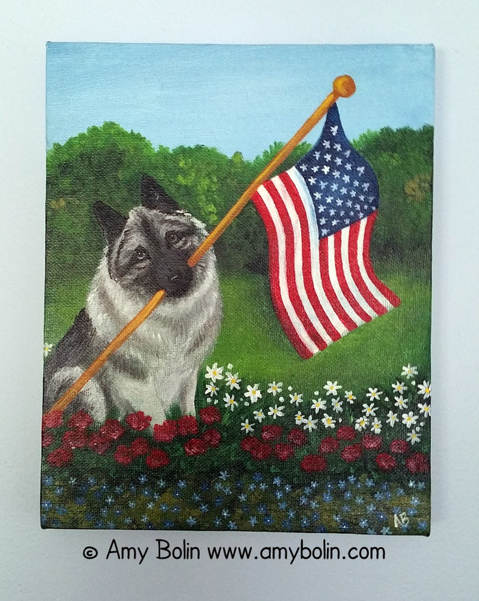 """Proud To Be American"" Norwegian Elkhound Original ART Acrylic Painting on Canvas 8"" by 10"" by Amy Bolin"
