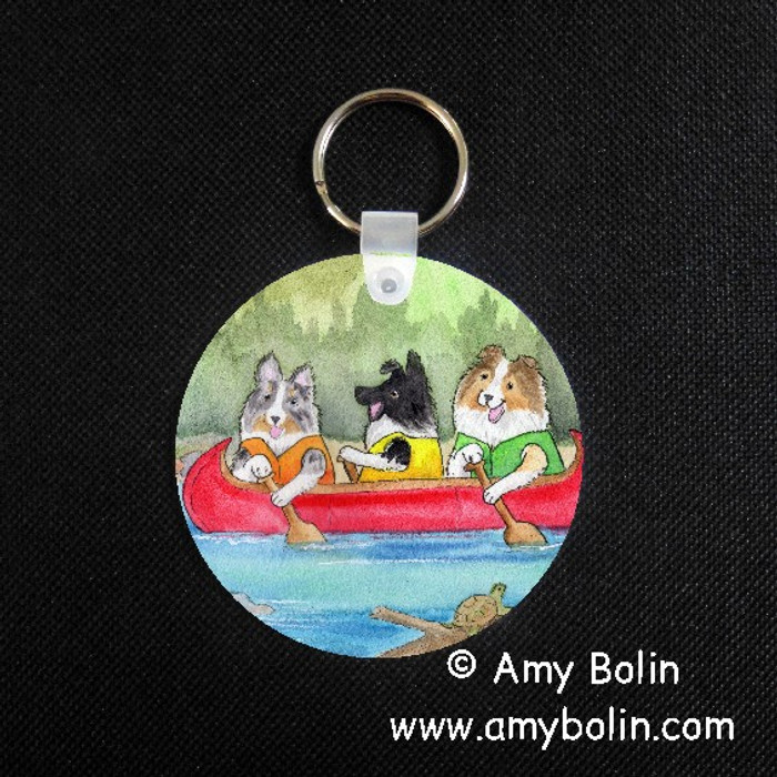 KEY CHAIN · SHELTIES ON THE RIVER · BI BLACK, BLUE MERLE, SABLE SHELTIES · AMY BOLIN