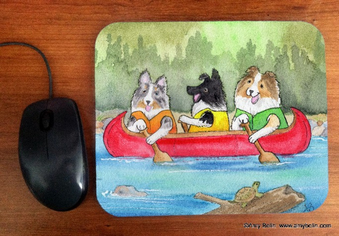 MOUSE PAD · SHELTIES ON THE RIVER · BI BLACK, BLUE MERLE, SABLE SHELTIES · AMY BOLIN