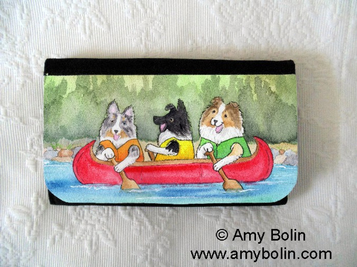 LARGE ORGANIZER WALLET · SHELTIES ON THE RIVER · BI BLACK, BLUE MERLE, SABLE SHELTIES · AMY BOLIN