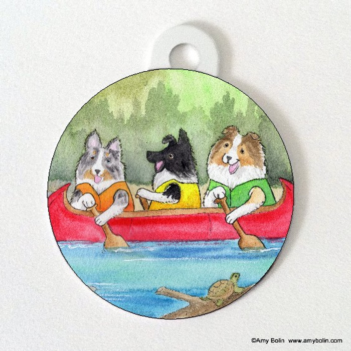 DOUBLE SIDED PET ID TAG · SHELTIES ON THE RIVER · BI BLACK, BLUE MERLE, SABLE SHELTIES · AMY BOLIN