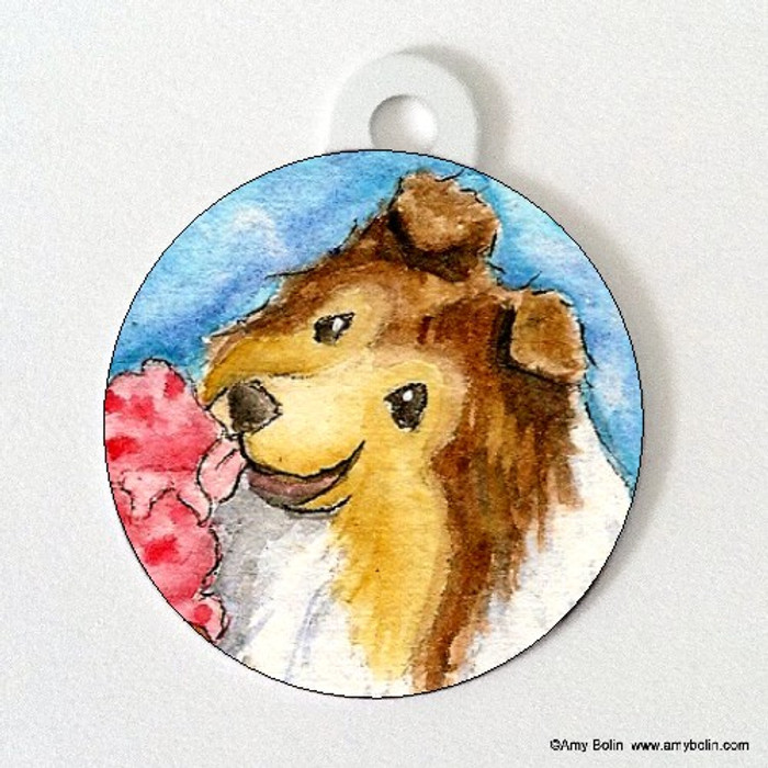 DOUBLE SIDED PET ID TAG · MAKE MINE CHERRY · SABLE SHELTIE · AMY BOLIN