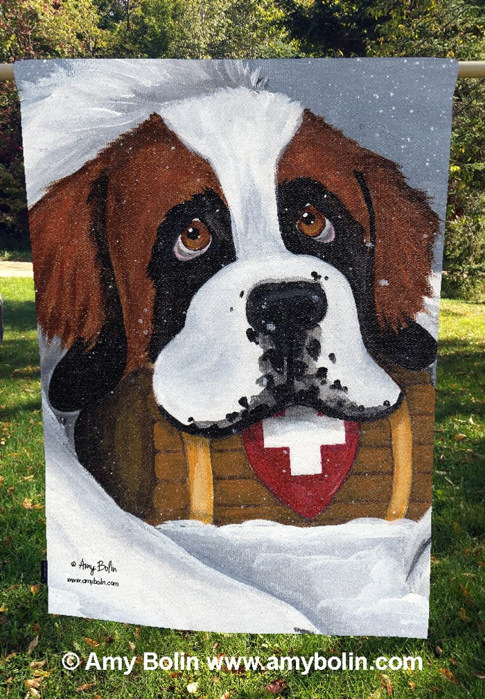 """Break Time"" Saint Bernard Dog by Amy Bolin · House Flag"