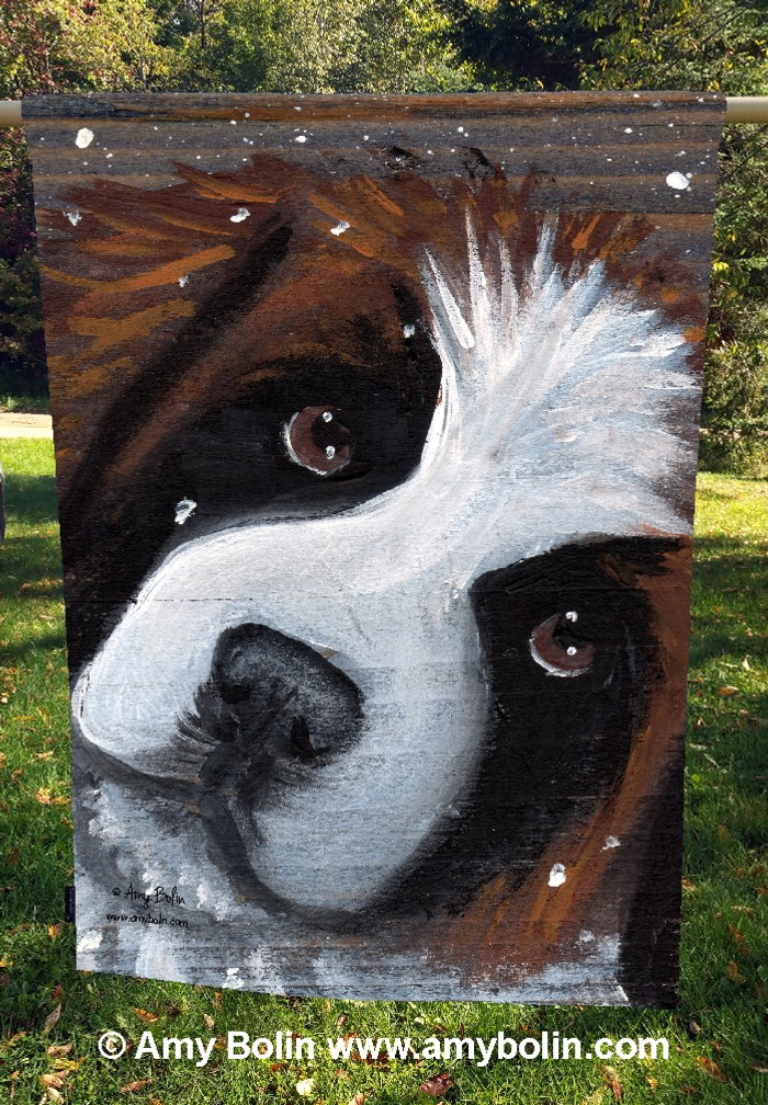 """My First Winter"" Saint Bernard Dog by Amy Bolin · House Flag"