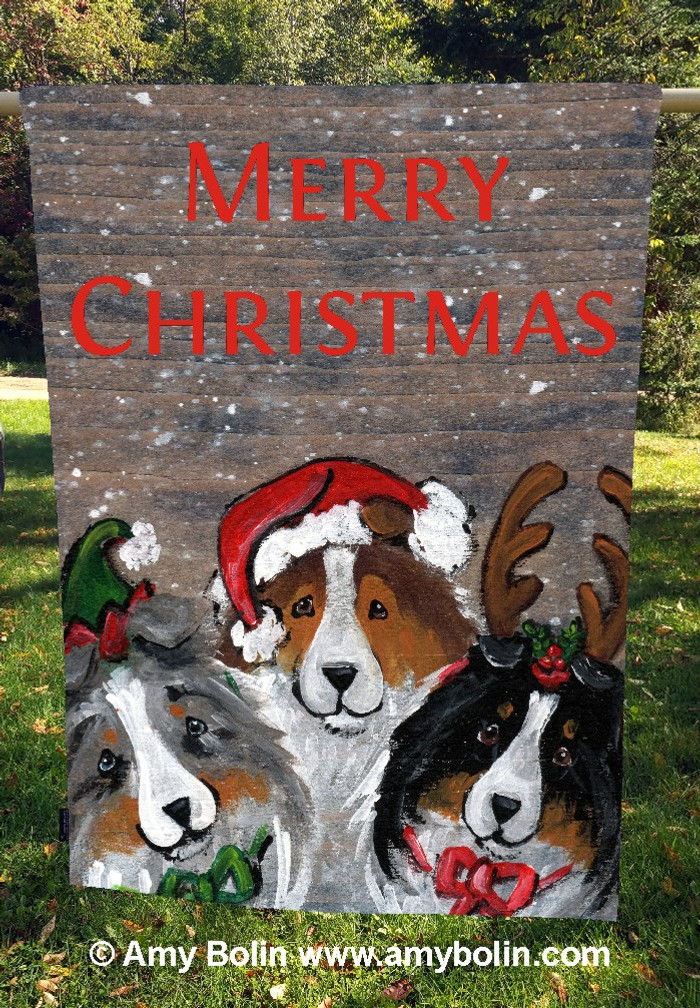 """Christmas Buddies"" Blue Merle, Sable, Tri-Color Shelties by Amy Bolin · House Flag"
