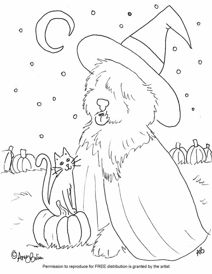 "FREE COLORING SHEET DOWNLOAD · ""Happy Halloween"" · OLD ENGLISH SHEEPDOG · AMY BOLIN"