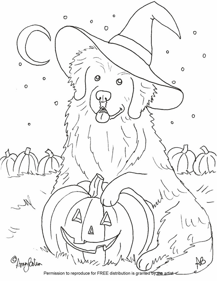 """FREE COLORING SHEET DOWNLOAD · """"Happy Halloween"""" · NEWFOUNDLAND · AMY BOLIN"""