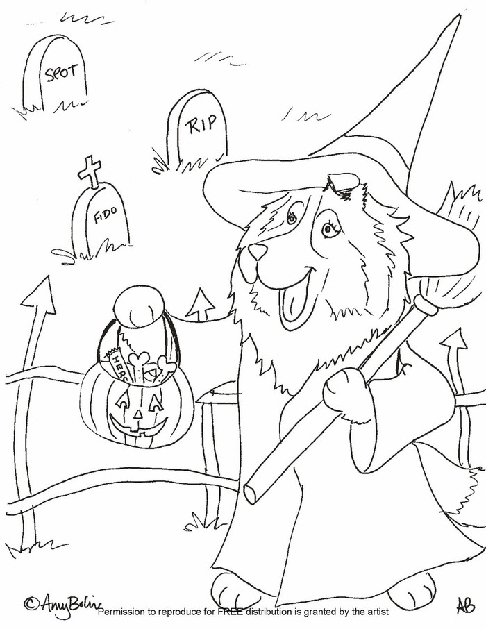 """FREE COLORING SHEET DOWNLOAD · """"Halloween Trick Or Treat"""" · SHELTIE · AMY BOLIN"""