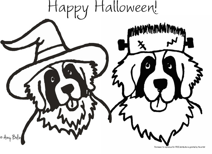 """FREE COLORING SHEET DOWNLOAD · """"Halloween Witch And Frankensaint"""" · SAINT BERNARDS · AMY BOLIN"""