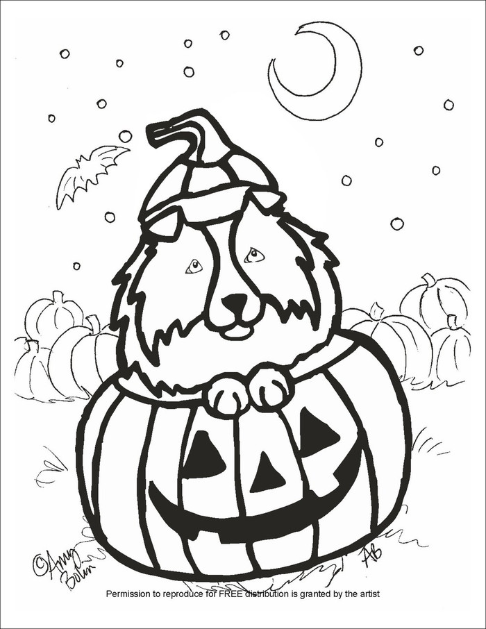 """FREE COLORING SHEET DOWNLOAD · """"Happy Howloween"""" · SHELTIE · AMY BOLIN"""
